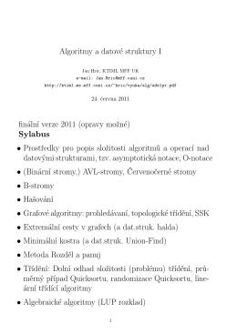 Algoritmy a datové struktury I finální verze 2011 (opravy možné