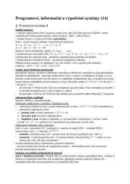 Programové, informační a výpočetní systémy (14)