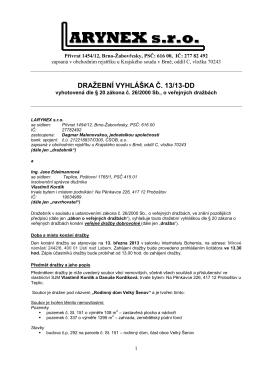 Dražební vyhláška RD Velký Šenov - 1 podpis