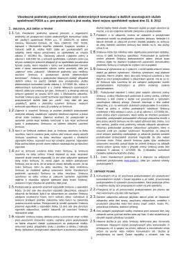 Všeobecné smluvní podmínky PODA a.s. pro podnikatele vydané
