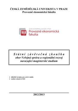 Okruhy otázek k SZZ - Badis - Česká zemědělská univerzita v Praze