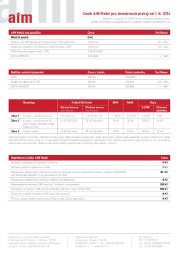 Ceník platný od 1. srpna 2014