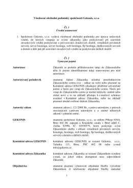 1 Všeobecné obchodní podmínky společnosti Gekonis, s.r.o. Čl. 1