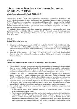 Zásady studia na FJFI ČVUT v Praze