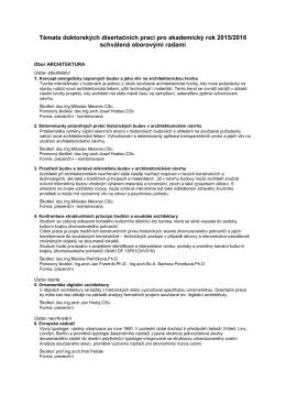 Témata doktorských disertačních prací pro akademický rok 2015