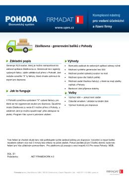 Zásilkovna - generování balíků z Pohody www.upes.cz