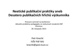 Neetické publikační praktiky aneb Desatero