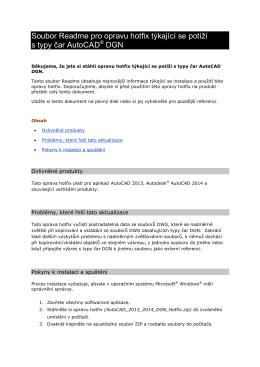 Soubor Readme pro opravu hotfix týkající se potíží s typy čar