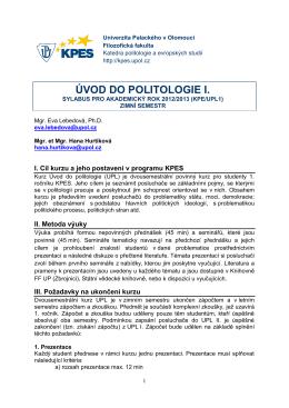 UPL1 - sylabus.pdf - Katedra politologie a evropských studií FF UP