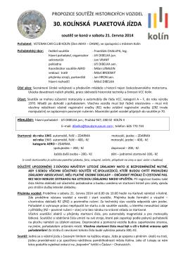 Soutěž 2014 - propozice - Veteran Car CLub Kolín