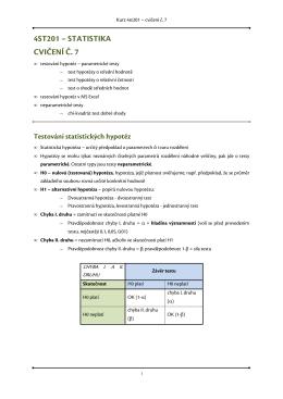 4ST201 – STATISTIKA CVIČENÍ Č. 7