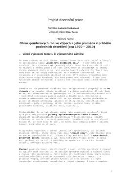 Projekt disertační práce