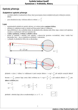 Optické přístroje Fyzikální kabinet GymKT Gymnázium J
