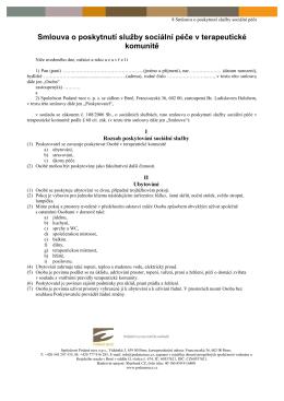 7 Smlouva o poskytnutí služby sociální péče v TK