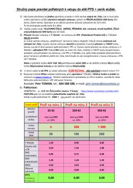 Potřebná data pro vstup do PPS a CENÍK s DPH 2012