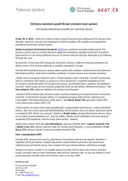 CFA Society představuje pravidla pro reporting výnosů GIPS