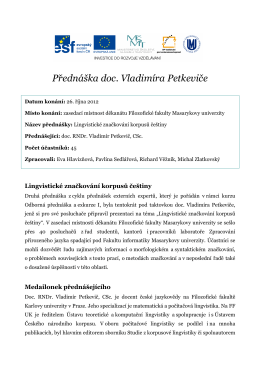Přednáška doc. RNDr. Vladimíra Petkeviče, CSc.