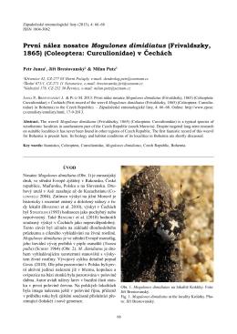 (Frivaldszky, 1865) (Coleoptera: Curculionidae) v Čechách