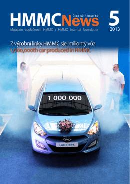 Z výrobní linky HMMC sjel miliontý vůz 1,000,000th car produced in