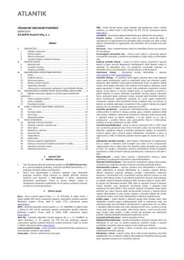 Všeobecné obchodní podmínky - ATLANTIK finanční trhy, a.s.