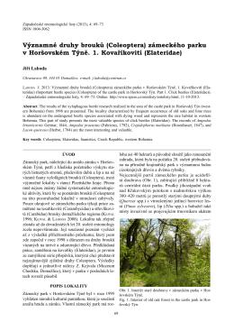 (Coleoptera) zámeckého parku v Horšovském Týně. 1. Kovaříkovití