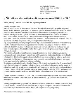 Ne zákazu alternativní medicíny provozované léčiteli v ČR.