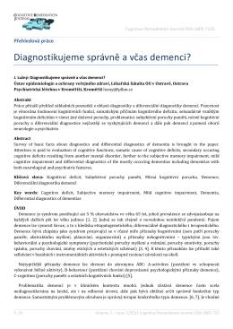 Diagnostikujeme správně a včas demenci?