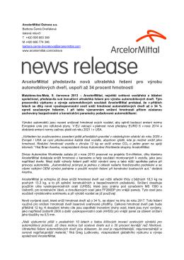 ArcelorMittal představila nová ultralehká řešení pro výrobu
