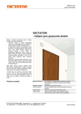 DICTATOR - řešení pro posuvné dveře - Technicke
