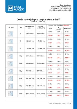 ceník hotových plastových oken a dveří - 2014 - hotovky