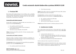 Ceník ostatních služeb klubového systému BONUS CLUB