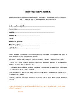 Homeopatický dotazník