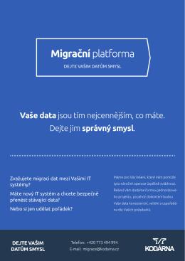 Produktový list - Migrační platforma