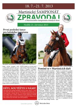 Zpravodaj neděle 21.7.2013 - Jezdecká společnost Equitana Martinice