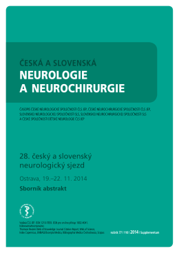28. český a slovenský neurologický sjezd Ostrava, 19.–22. 11. 2014