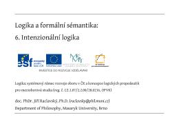 Logika a formální sémantika: 6. Intenzionální logika