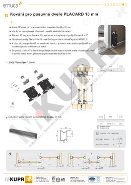 Kování pro posuvné dveře PLACARD 18 mm - M-Kupr