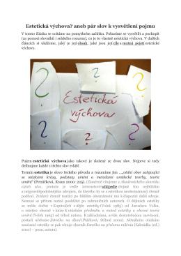 Estetická výchova aneb Pár slov k vysvětlení pojmu – verze pro tisk