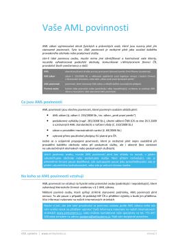 AML povinnosti (všeobecné informace)