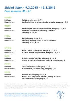 Týdenní jídelní lístek - 09.03.2015