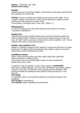Giddens Sociologie .Argo 1999 Některé klíčové pojmy. RODINA