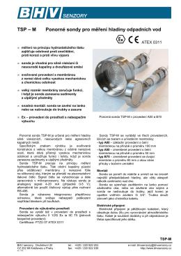 TSP – M Ponorné sondy pro měření hladiny
