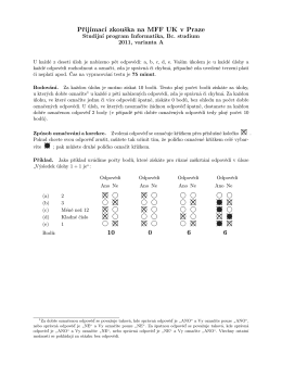 Přijímací zkouška na MFF UK v Praze 10 0 6 6