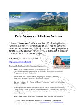 Karta Sommercard Schladming Dachstein