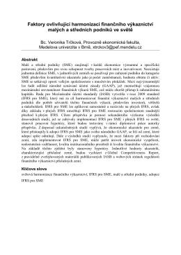 Faktory ovlivňující harmonizaci finančního výkaznictví malých a
