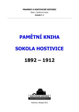 - Pamětní kniha Sokola Hostivice 1892-1912