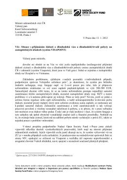 Dopis ministru Schwarzenbergovi k systému Visapoint-1