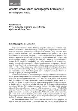 Vývoj didaktiky geografie a nové trendy výuky zeměpisu v Česku