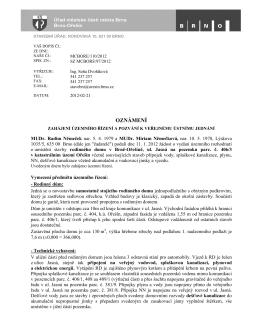 Oznámení zahájení územního řízení o umístění stavby - Brno