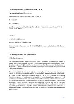 Obchodní podmínky společnosti BScom s. r. o. Obchodní